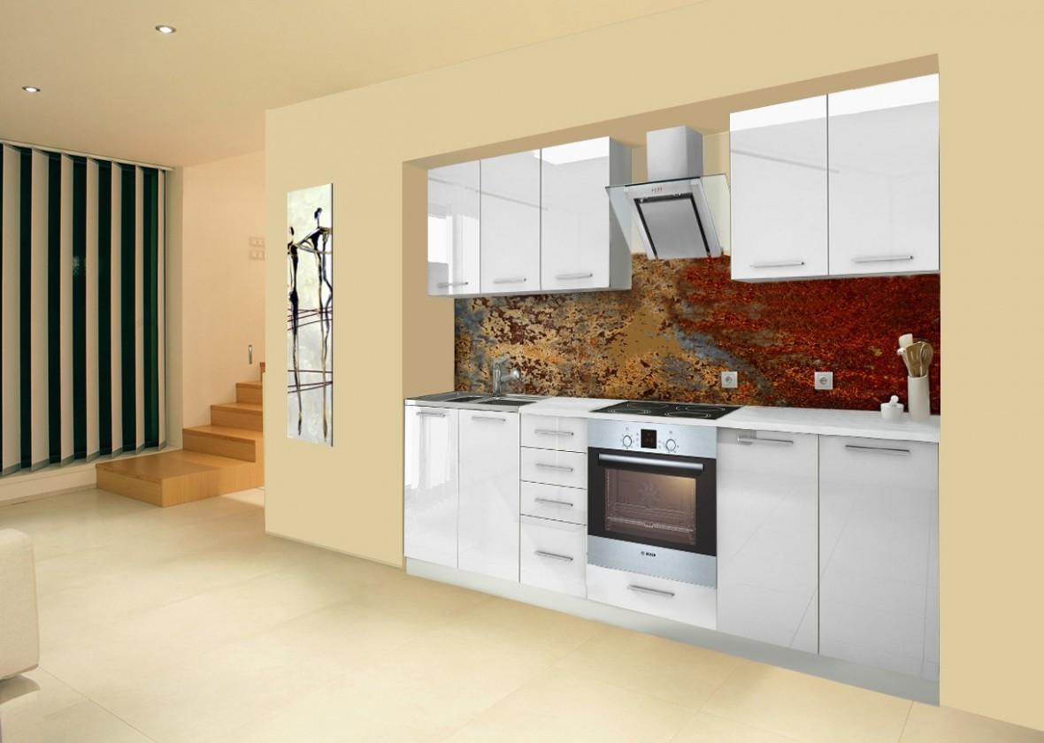 Rovná Mondeo - Kuchyňský blok A, 260 cm (bílá, lesk)