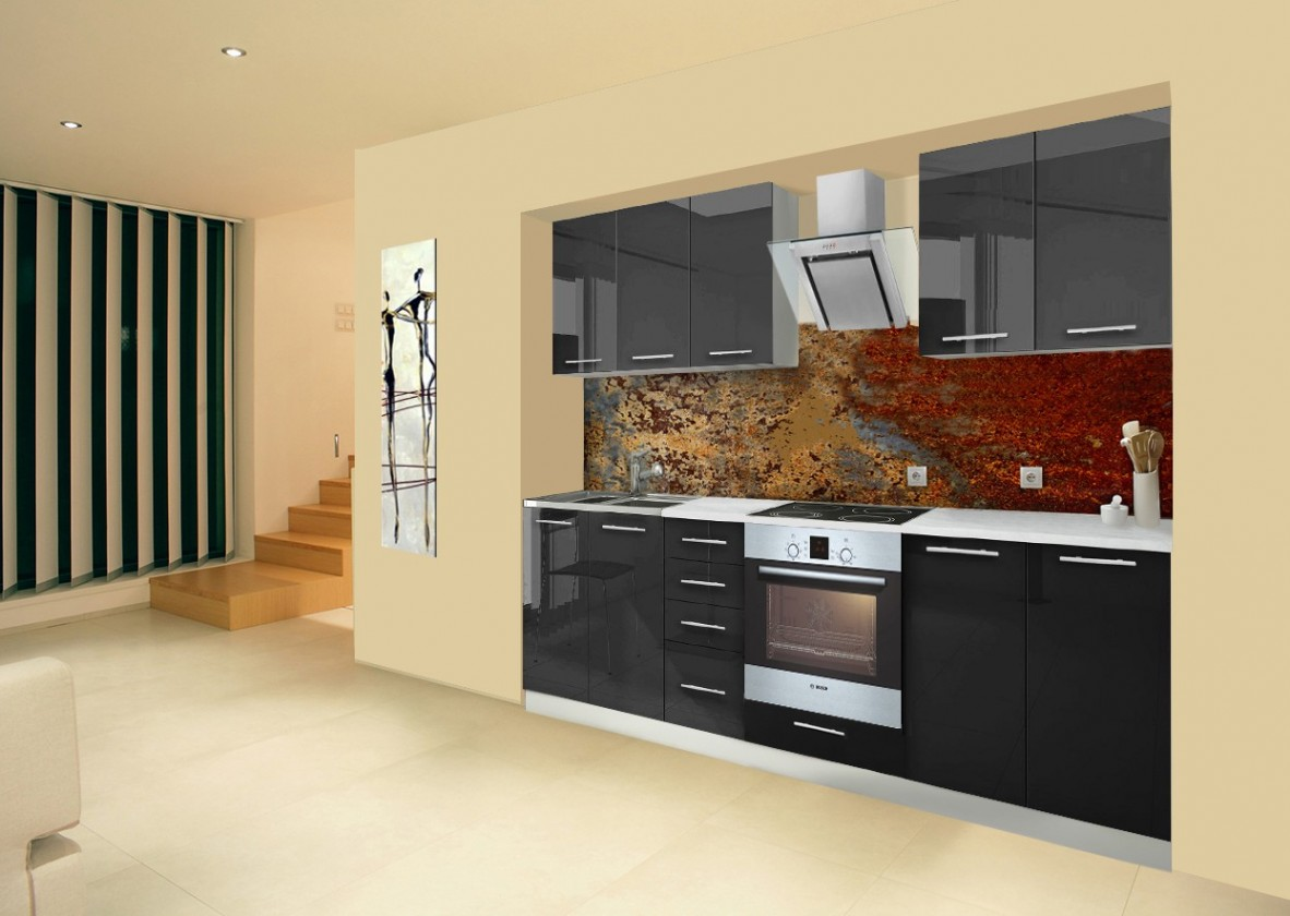Rovná Mondeo - Kuchyňský blok A, 260 cm (černá, lesk)