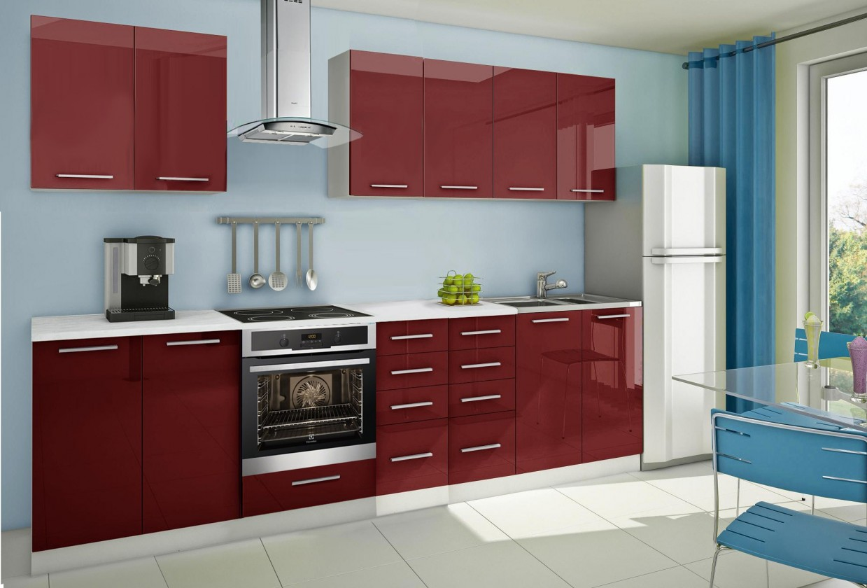 Rovná Mondeo - Kuchyňský blok A, 300 cm (červená, lesk)