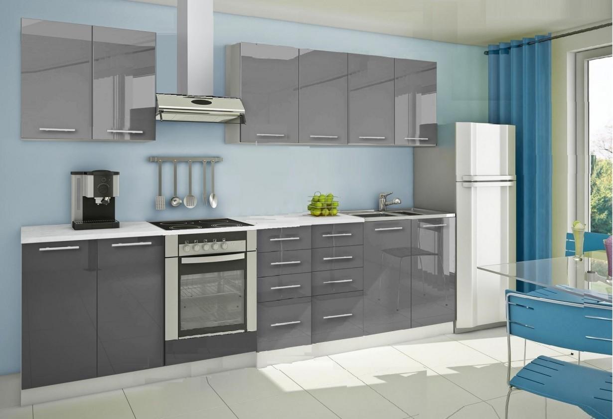 Rovná Mondeo - Kuchyňský blok A, 300 cm (šedá, lesk)