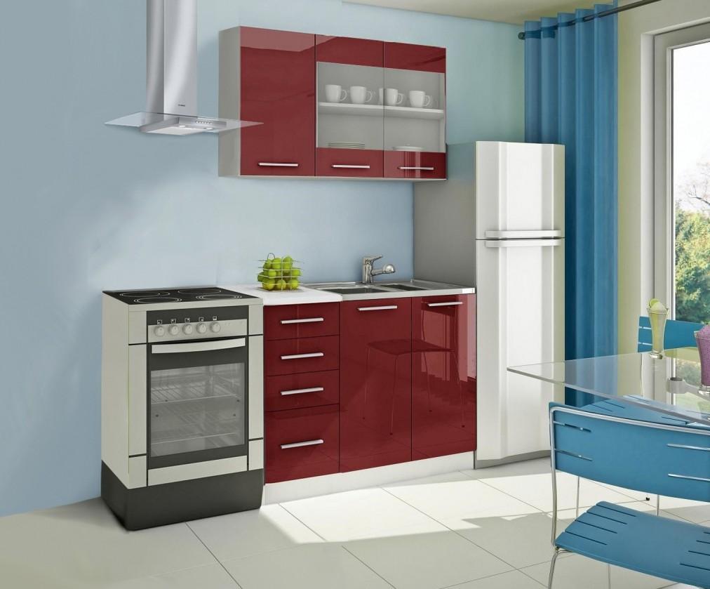 Rovná Mondeo - Kuchyňský blok B, 120 cm (červená, lesk)