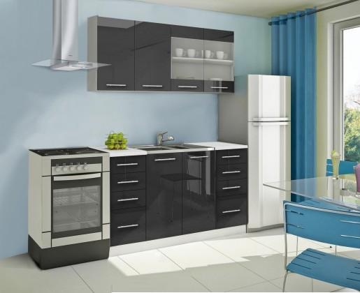 Rovná Mondeo - Kuchyňský blok B, 160 cm (černá, lesk)