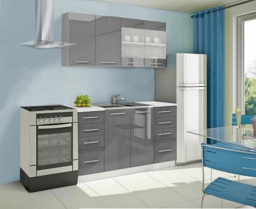 Rovná Mondeo - Kuchyňský blok B, 160 cm (šedá, lesk)