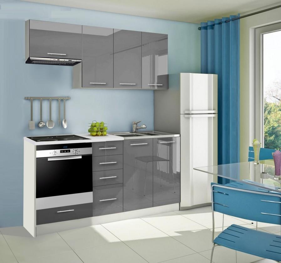 Rovná Mondeo - Kuchyňský blok B, 180 cm (šedá, lesk)