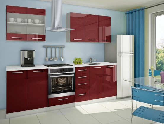 Rovná Mondeo - kuchyňský blok B 200/260 cm (pracovní deska - mramor)