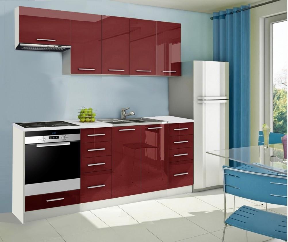 Rovná Mondeo - Kuchyňský blok B, 220 cm (červená, lesk)