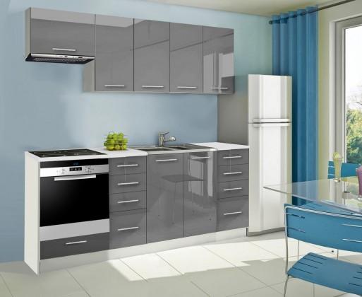 Rovná Mondeo - Kuchyňský blok B, 220 cm (šedá, lesk)