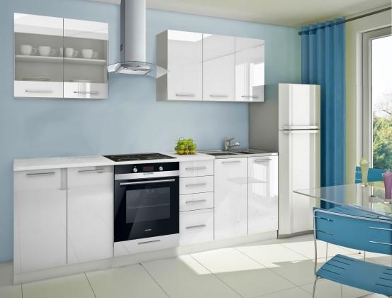 Rovná Mondeo - Kuchyňský blok B, 260 cm (bílá, lesk)