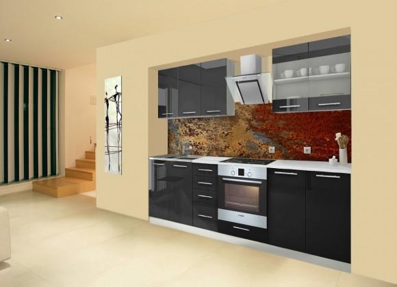 Rovná Mondeo - Kuchyňský blok B, 260 cm (černá, lesk)