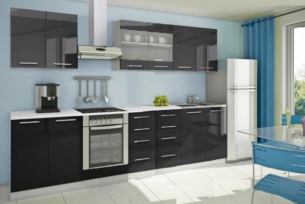 Rovná Mondeo - Kuchyňský blok B, 300 cm (černá, lesk)