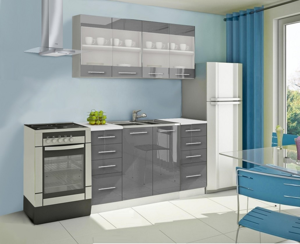 Rovná Mondeo - Kuchyňský blok C, 160 cm (šedá, lesk)