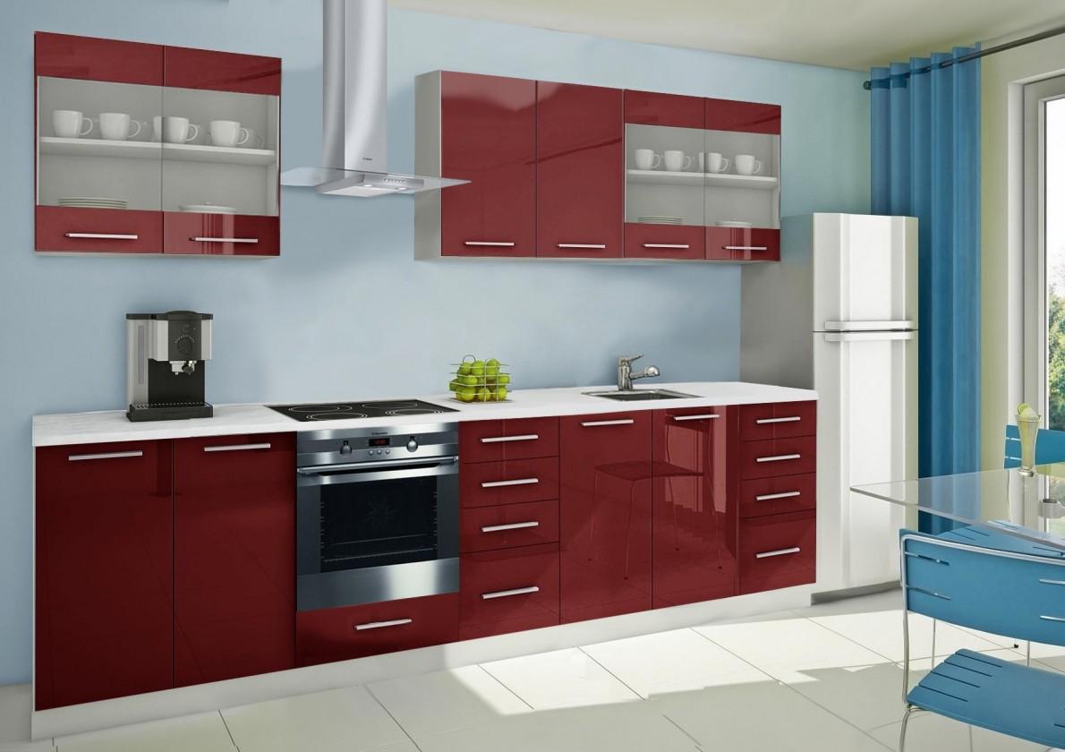 Rovná Mondeo - kuchyňský blok C 240/300 cm (pracovní deska - mramor)