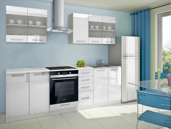Rovná Mondeo - Kuchyňský blok C, 260 cm (bílá, lesk)