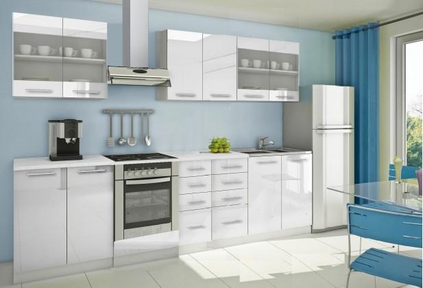 Rovná Mondeo - Kuchyňský blok C, 300 cm (bílá, lesk)