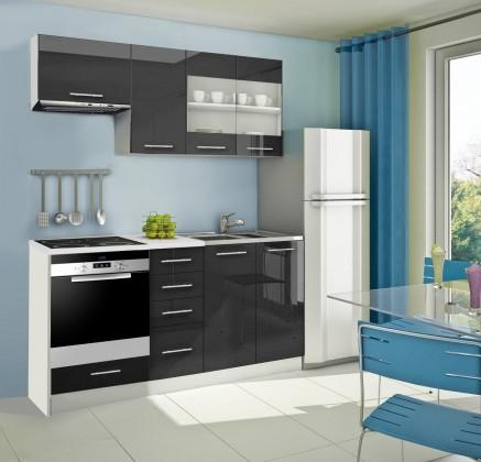 Rovná Mondeo - Kuchyňský blok D, 180 cm (černá, lesk)