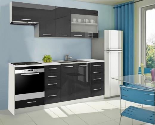 Rovná Mondeo - Kuchyňský blok D, 220 cm (černá, lesk)