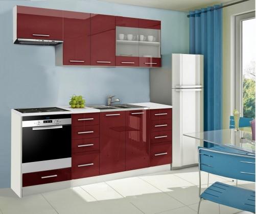 Rovná Mondeo - Kuchyňský blok D, 220 cm (červená, lesk)