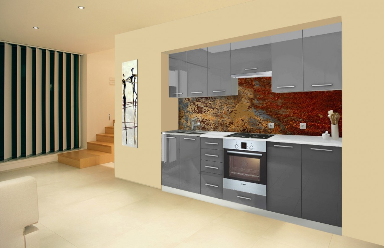 Rovná Mondeo - Kuchyňský blok D, 260 cm (šedá, lesk)