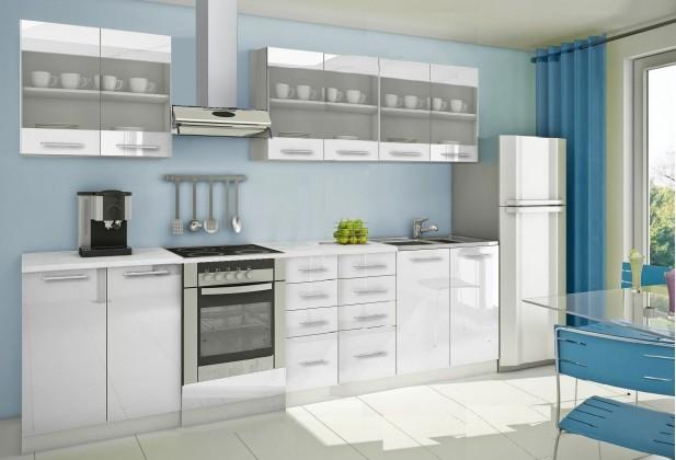 Rovná Mondeo - Kuchyňský blok D, 300 cm (bílá, lesk)