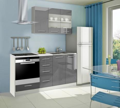 Rovná Mondeo - Kuchyňský blok E, 180 cm (šedá, lesk)