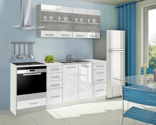 Rovná Mondeo - Kuchyňský blok E, 220 cm (bílá, lesk)