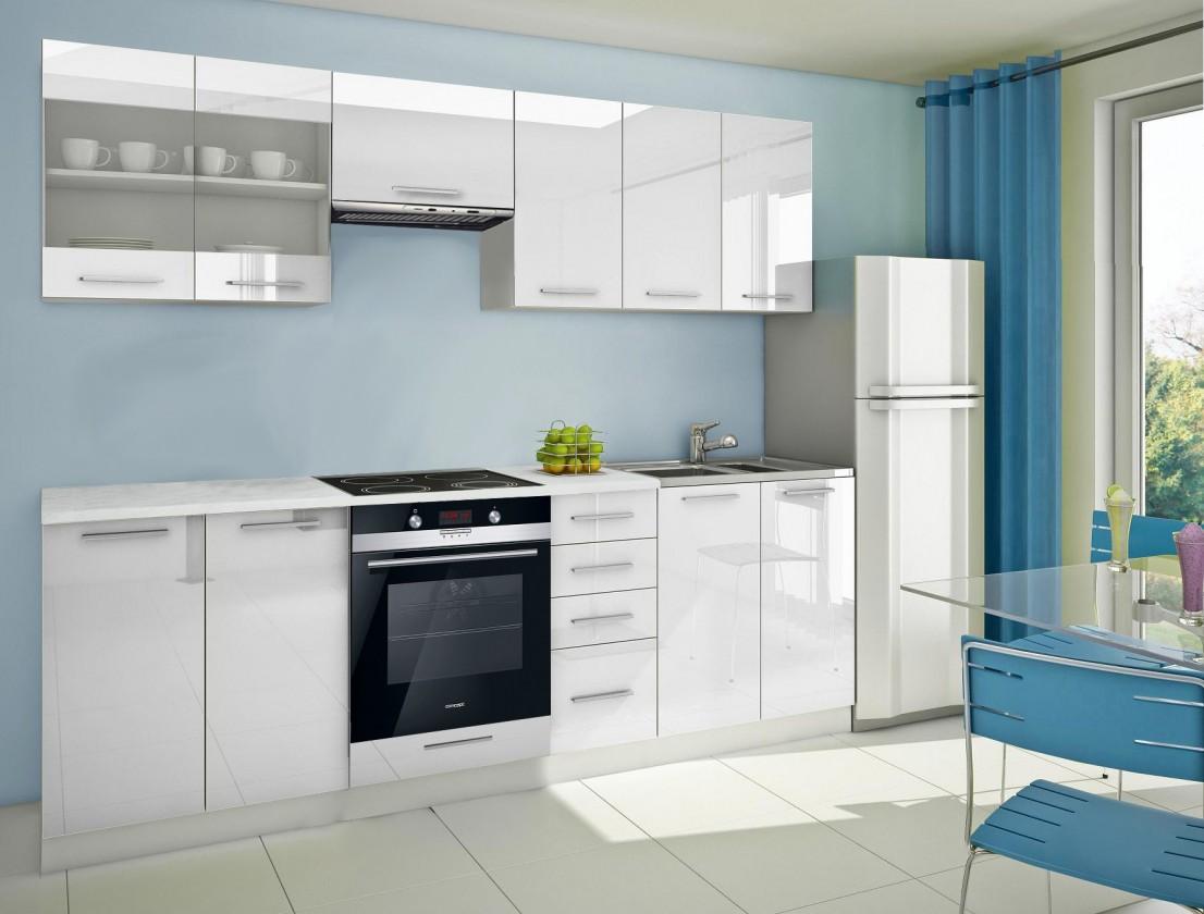 Rovná Mondeo - Kuchyňský blok E, 260 cm (bílá, lesk)