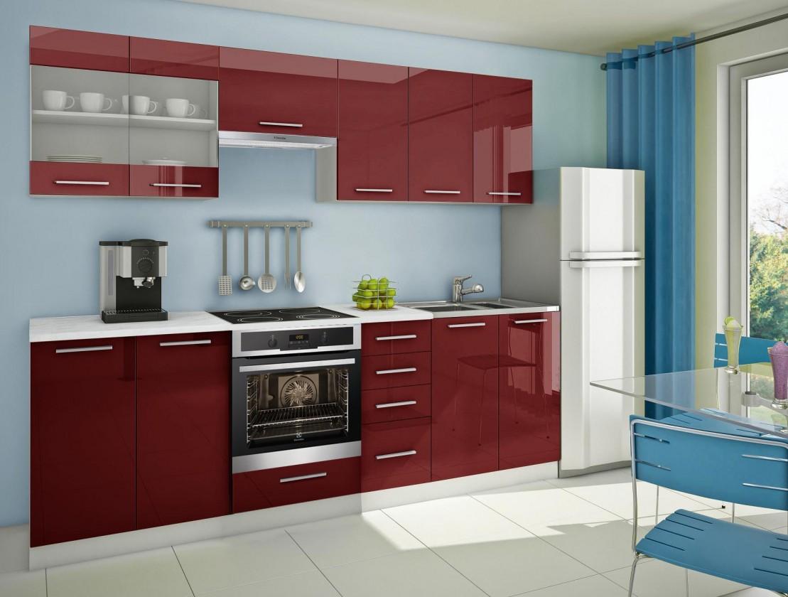 Rovná Mondeo - Kuchyňský blok E, 260 cm (červená, lesk)