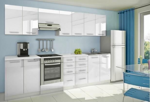 Rovná Mondeo - Kuchyňský blok E, 300 cm (bílá, lesk)