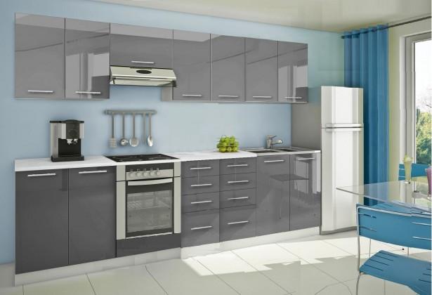 Rovná Mondeo - Kuchyňský blok E, 300 cm (šedá, lesk)
