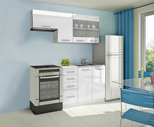 Rovná Mondeo - Kuchyňský blok F, 180 cm (bílá, lesk)