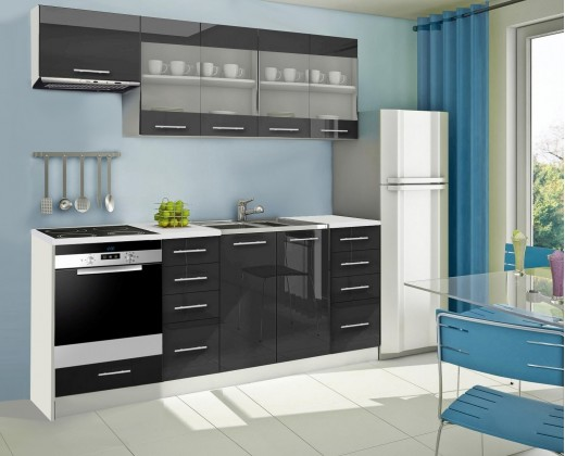 Rovná Mondeo - Kuchyňský blok F, 220 cm (černá, lesk)