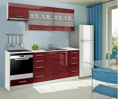 Rovná Mondeo - Kuchyňský blok F, 220 cm (červená, lesk)