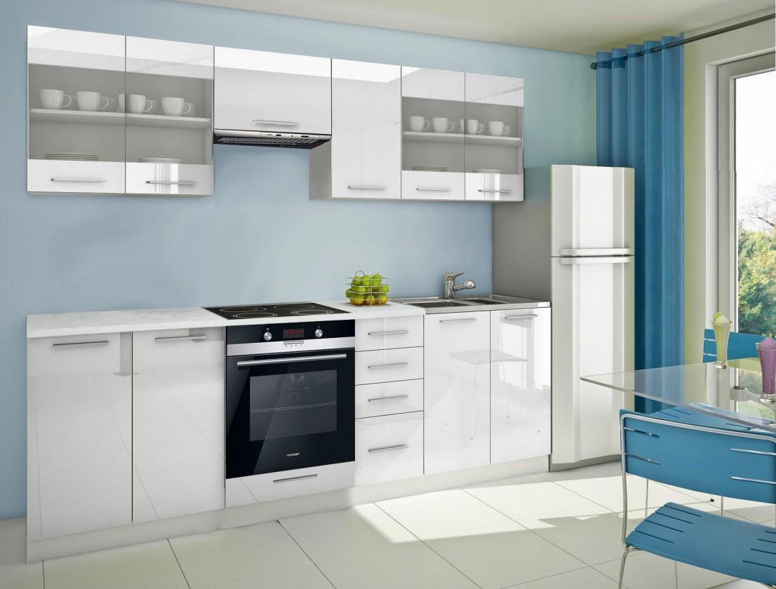 Rovná Mondeo - Kuchyňský blok F, 260 cm (bílá, lesk)