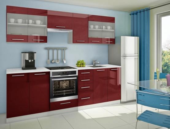Rovná Mondeo - kuchyňský blok F 260 cm (pracovní deska - mramor)