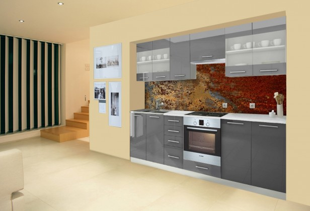 Rovná Mondeo - Kuchyňský blok F, 260 cm (šedá, lesk)