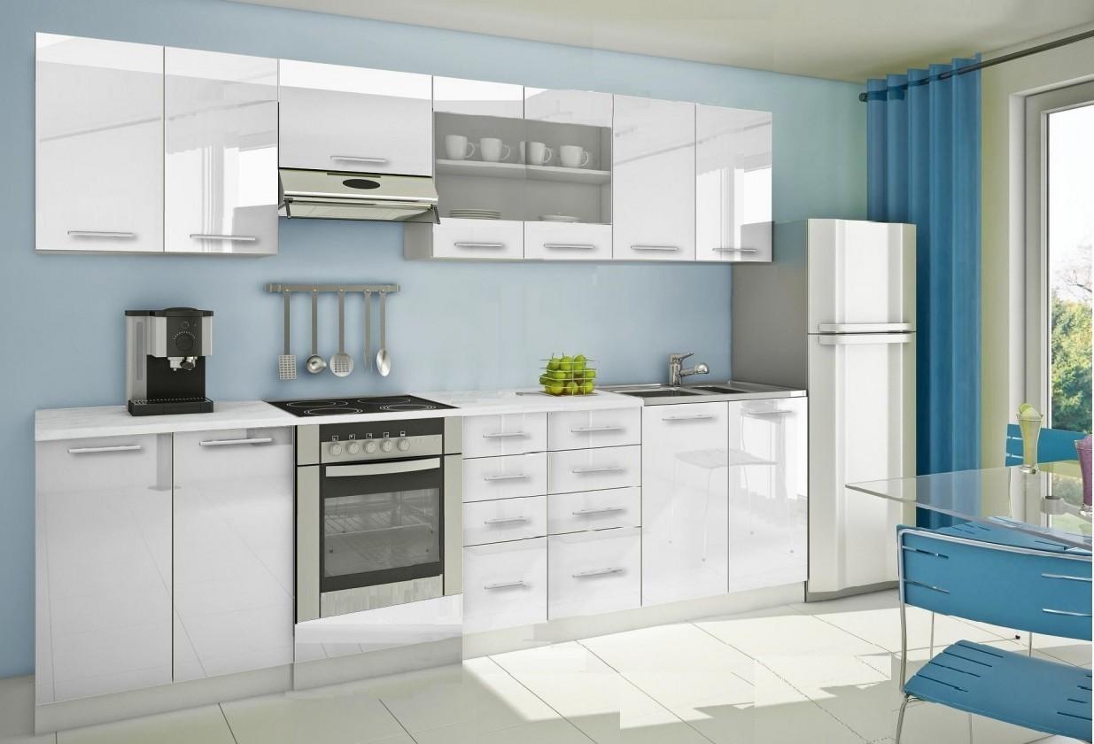 Rovná Mondeo - Kuchyňský blok F, 300 cm (bílá, lesk)