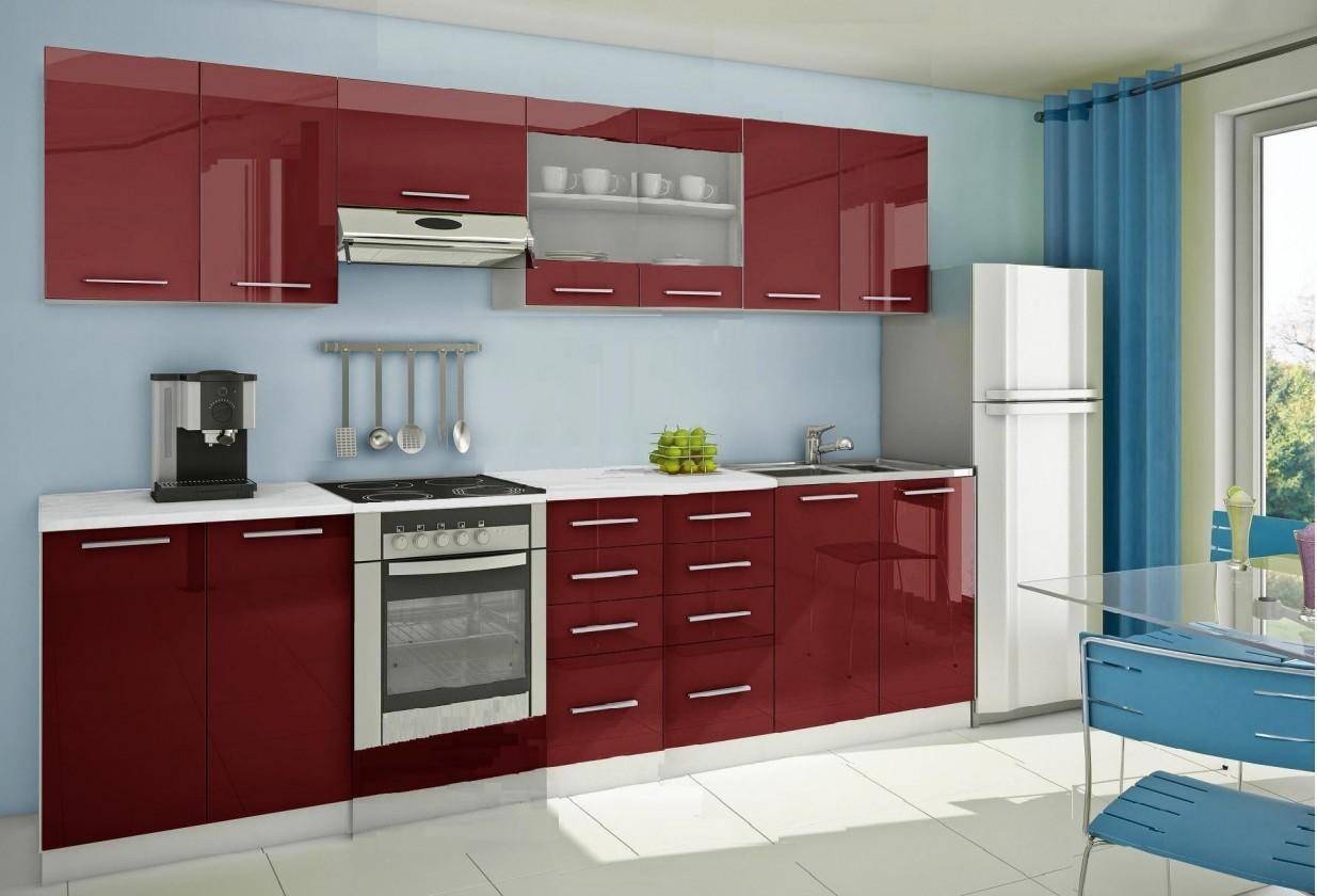 Rovná Mondeo - Kuchyňský blok F, 300 cm (červená, lesk)