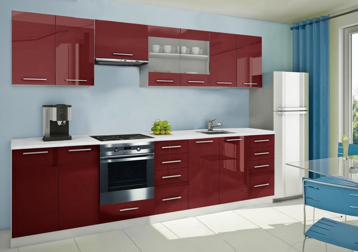 Rovná Mondeo - kuchyňský blok F 300 cm (pracovní deska - mramor)