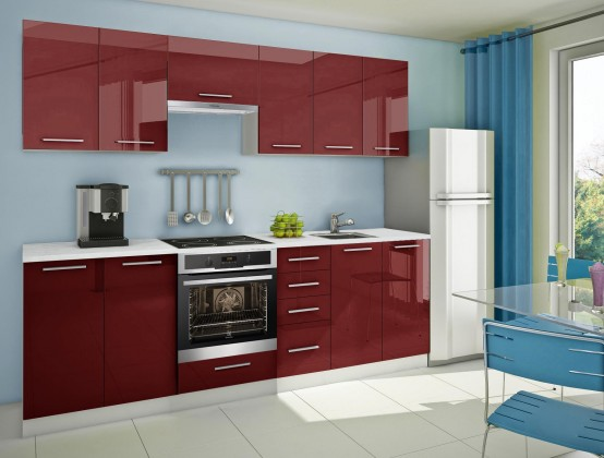 Rovná Mondeo - Kuchyňský blok G, 260cm (červená)