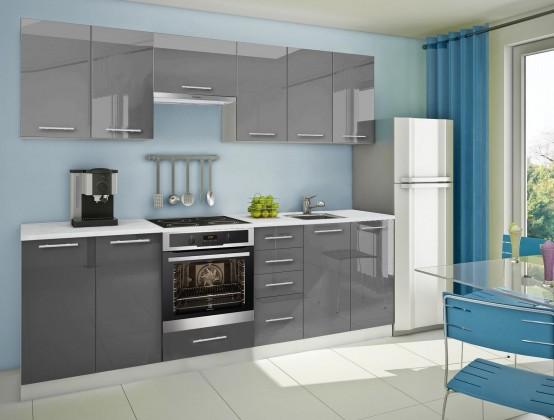 Rovná Mondeo - Kuchyňský blok G, 260cm (šedá)