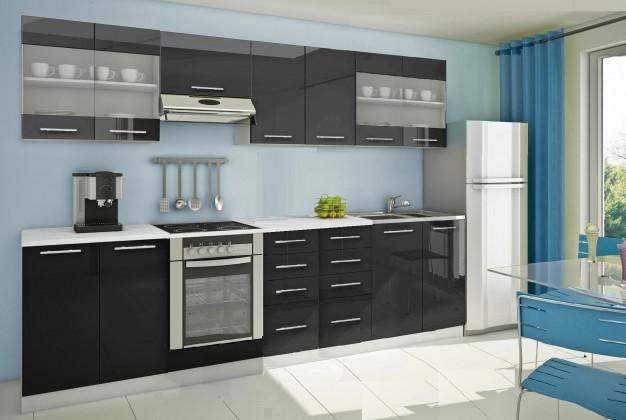 Rovná Mondeo - Kuchyňský blok G, 300 cm (černá, lesk)