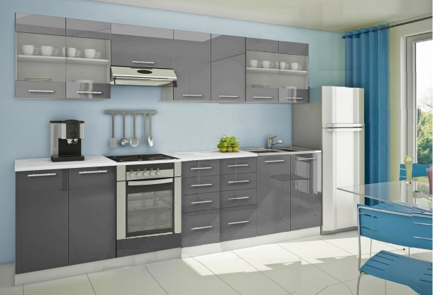 Rovná Mondeo - Kuchyňský blok G, 300 cm (šedá, lesk)