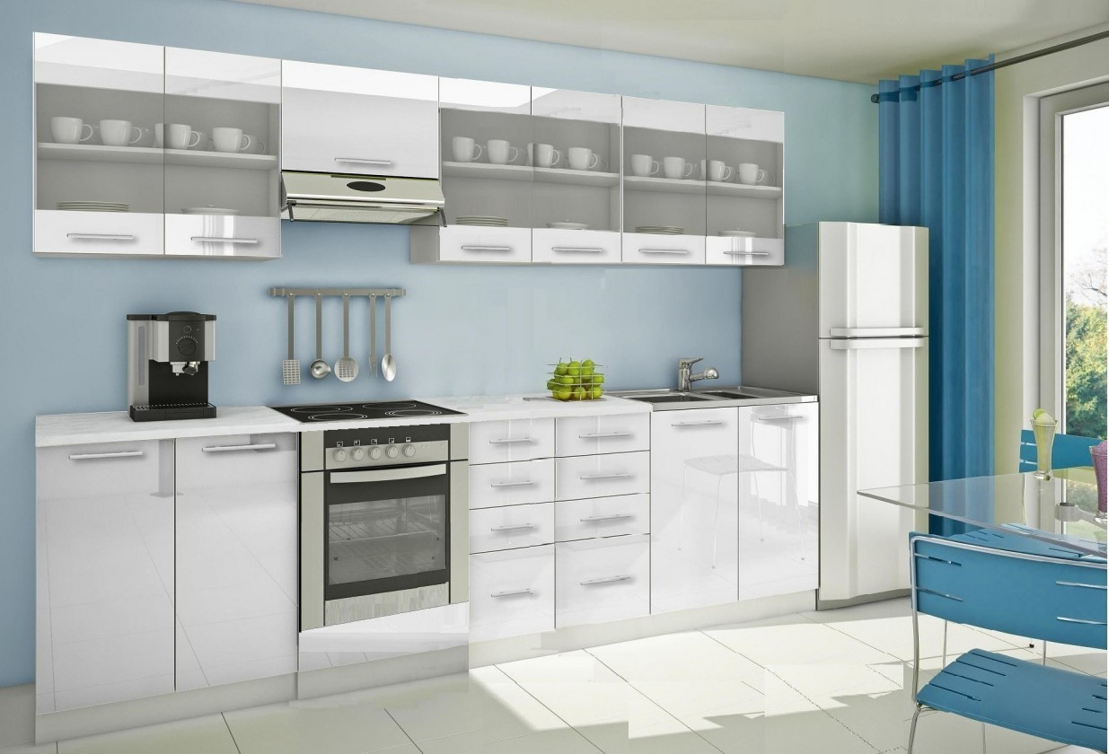 Rovná Mondeo - Kuchyňský blok H, 300 cm (bílá, lesk)