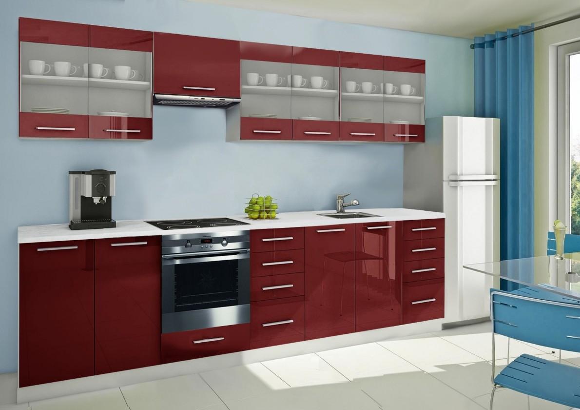 Rovná Mondeo - kuchyňský blok H 300 cm (pracovní deska - mramor)