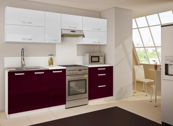 Rovná Nancy 14 - Kuchyňský blok (bílá / fialová HG / bílá HG)