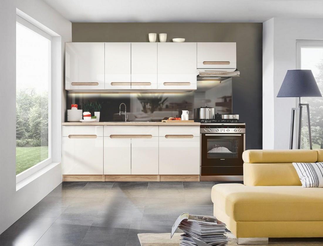 Rovná Sandy - Kuchyňský blok 200/260 cm (bílá, dub sonoma)