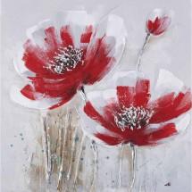 Ručně malovaný obraz Redflowers (60x60 cm)