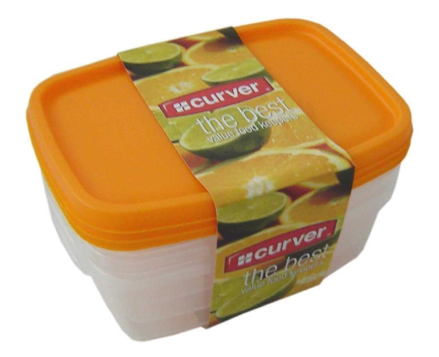 Sada dóz na potraviny, 3x1,2l (plast,oranžová)