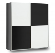 Šatní skříň Express (bílá/černý mat/šedá)