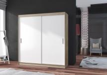Šatní skříň Pop - 180x215x60, posuvné dveře (bílá/dub sonoma)